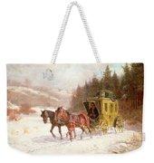 The Post Coach In The Snow Weekender Tote Bag by Fritz van der Venne