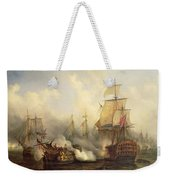 The Redoutable At Trafalgar Weekender Tote Bag by Auguste Etienne Francois Mayer