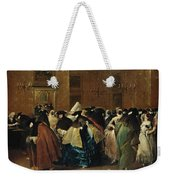 The Ridotto In Venice With Masked Figures Conversing Weekender Tote Bag