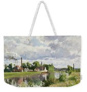 The River Oise Near Pontoise Weekender Tote Bag by Camille Pissarro