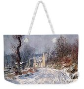 The Road To Giverny In Winter Weekender Tote Bag by Claude Monet