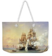 The Russian Cutter Mercury Captures The Swedish Frigate Venus On 21st May 1789 Weekender Tote Bag by Aleksei Petrovich Bogolyubov
