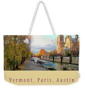 The Seine And Quay Beside Notre Dame, Autumn Cover Art Weekender Tote Bag