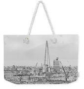 The Shard Outline Poster Bw Weekender Tote Bag