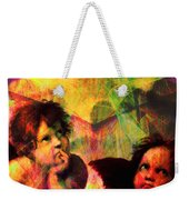 The Sistine Modonna Baby Angels In Abstract Space 20150622 Square Weekender Tote Bag