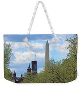 The Smithsonian Castle And Washington Monument In Green Weekender Tote Bag