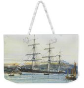 The Square-rigged Australian Clipper Old Kensington Lying On Her Mooring Weekender Tote Bag