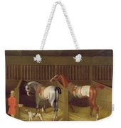 The Stables And Two Famous Running Horses Belonging To His Grace - The Duke Of Bolton Weekender Tote Bag