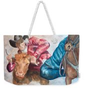 The Steer Wrestler Weekender Tote Bag