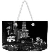 The Strip By Night B-w Weekender Tote Bag