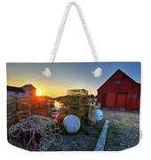 The Sun Rising By Motif 1 In Rockport Ma Bearskin Neck Lobster Traps Weekender Tote Bag