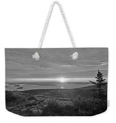The Sunrise From Cadillac Mountain In Acadia National Park Black And White Weekender Tote Bag