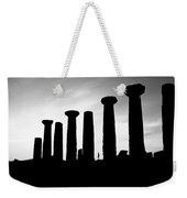 The Temple Of Hercules. Agrigento, Sicily.    Black And White Weekender Tote Bag