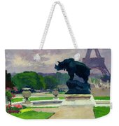 The Trocadero Gardens And The Rhinoceros Weekender Tote Bag by Jules Ernest Renoux