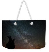 The Trunk Of A Dead Tree, Milky Way And Meteor Weekender Tote Bag