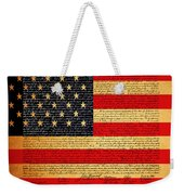 The United States Declaration Of Independence - American Flag - Square Weekender Tote Bag