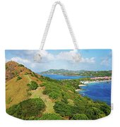 The View From Fort Rodney On Pigeon Island Gros Islet Blue Water Weekender Tote Bag