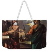 The Virgin Appearing To Saints John The Baptist And John The Evangelist 1520 Weekender Tote Bag