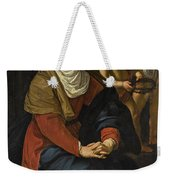 The Virgin In Prayer At The Foot Of The Cross, With Crying Angels Weekender Tote Bag
