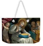 The Virgin Sewing Accompanied By Four Angels. La Couseuse Weekender Tote Bag