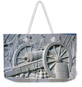 The Vittorio Emanuele Monument Marble Relief Of A Canon Standards Rome Italy Weekender Tote Bag