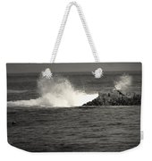 The Wild Pacific In Black And White Weekender Tote Bag