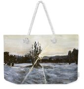 The Winter Sunset With A Bench Weekender Tote Bag