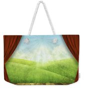 Theater Stage With Red Curtains And Nature Background  Weekender Tote Bag
