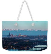 The_olympics_over_seattle Weekender Tote Bag