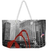 There's A Red Flamingo In Chicago Weekender Tote Bag