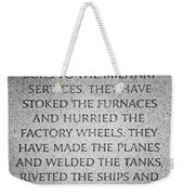 They Have Given Their Sons To The Military... - National World War II Memorial In Washington Dc Weekender Tote Bag