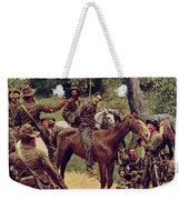 They Talked It Over With Me Sitting On The Horse Weekender Tote Bag by Howard Pyle