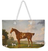 Thomas Egerton's Chestnut Hunter With A Groom And Two Hounds And A Terrier In A River Landscape Weekender Tote Bag
