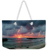 Threatening Sky Above The Caribbean Sea Off Isle De Mujeras' North Shore Weekender Tote Bag