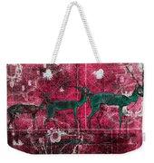 Three Antelope On Red Weekender Tote Bag