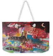 Three Arms10  Original Abstract Colorful Landscape Painting For Sale Red Blue Green Weekender Tote Bag