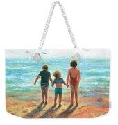 Three Beach Children Siblings  Weekender Tote Bag