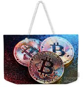 Three Bitcoin Coins In A Colorful Lighting. Weekender Tote Bag