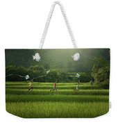 Three Boys Are Happy To Play Kites At Summer Field In Nature In  Weekender Tote Bag