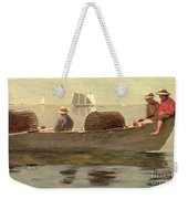 Three Boys In A Dory Weekender Tote Bag by Winslow Homer