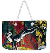 Three Cats 1913 Painting Of Cats Posing And Cleaning Themselves Weekender Tote Bag