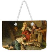 Three Children Feeding Rabbits Weekender Tote Bag