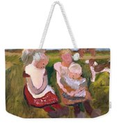 Three Children Sitting On A Hillside With Dog And Horse Weekender Tote Bag