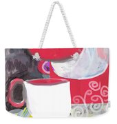 Three Coffee Cups Red And White Weekender Tote Bag