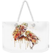 Three Cute Owls Watercolor Weekender Tote Bag