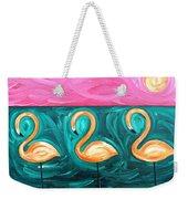 Three Flamingoes Weekender Tote Bag