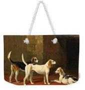 Three Fox Hounds In A Paved Kennel Yard Weekender Tote Bag