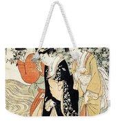 Three Girls Paddling In A River Weekender Tote Bag by Kitagawa Utamaro