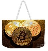 Three Golden Bitcoin Coins On Black Background. Weekender Tote Bag