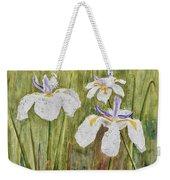 Three Irises In The Rain Weekender Tote Bag